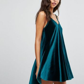 Boohoo Velvet Swing Dress at asos.com