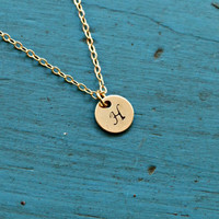 Gold Initial Necklace Bridesmaid Jewelry Hand stamped Jewelry Monogram Necklace 8 mm Gold Filled Disc 20 gauge