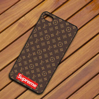 Top Supreme Logo Brown Pattern Fit Hard Case For iPhone 6 6s 7 8 Plus X Cover +