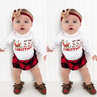 2016 Christmas Gift Newborn Baby Boy Girl Clothes XMAX Santa Claus Long Sleeve Bodysuit Outfits Playsuit Bebes Clothing Sunsuit