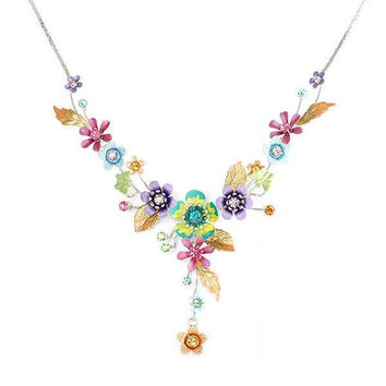 Glamorousky Colorful Flower and Tiny Butterfly Necklace with Multi-color Austrian Element Crystals (986)