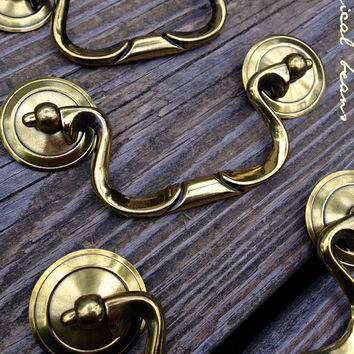 Keeler Brass Co. Drop Pail Pull with Rosette / Gold Pull / Brass Furniture Dresser Drawer Hardware