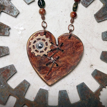 Ex Marks The Heart - Acrylic Laser Cut Broken and Mended SteamPunk Heart Statement Necklace