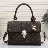 LV Louis Vuitton Trending Classic Women Leather Square Backpack Bookbag Daypack Satchel Coffee LV Pattern I