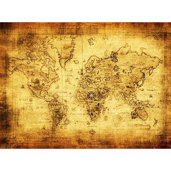 1PC Polyester Retro world map wall decor vintage antique Old World Sea Map Ornament Gifts poster 30*40cm drop shipping