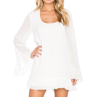 Show Me Your Mumu Margo Mini Dress in Off White Chiffon