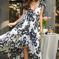 Jana White and Black High Low Short Sleeved Floral Dress
