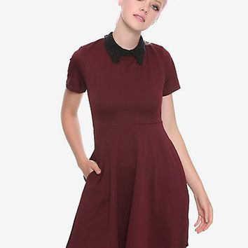Burgundy & Black Lace Collar Skater Dress