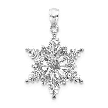 14k White Gold Polished And Textured 2 Level Snowflake Pendant