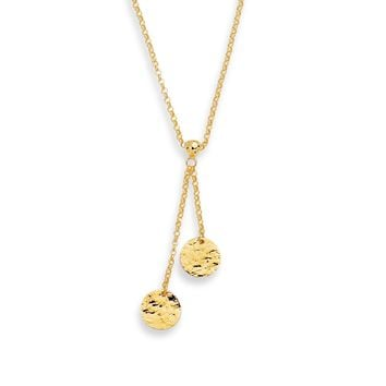 14K Yellow Gold Shiny Rolo Chain with 2 Round Flat Hammered Disc Lariat Necklace with Lobster Clasp