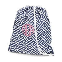 Monogrammed Navy Blue Greek Key Geometric Gym Bag with Drawstring Backpack School Bookbag