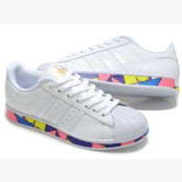 "Fashion ""Adidas"" Shell-toe Flats Sneakers Sport Shell-toe print Shoes White(colorful soles)"