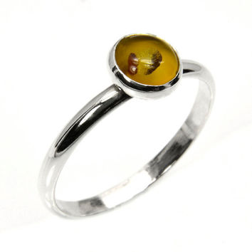 Stacking Ring in Sterling Silver and Amber, Delicate Amber Stacking Ring