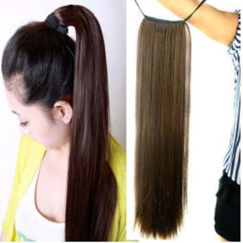 Women's Ladies Girls 50cm Long Straight Hair Piece Steel Synthetic Ponytail Hair Extensions Beautiful Hair piece = 5658513601