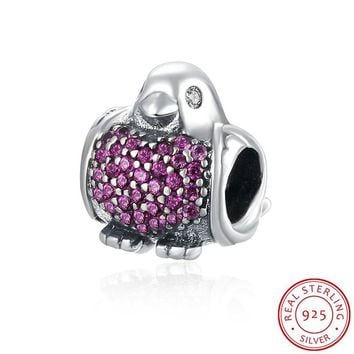 AZIZ BEKKAOUI Red Clear Cubic Zirconia Birds Charms Fit Pandora Bracelets Animal Jewelry 100% 925 Sterling Silver ROBIN Charms