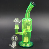 27CM bong Fluorescent green glass bongs glass water pipes Weight 455g Jiont 18.8MM oil rigs glass bongs Free Shipping