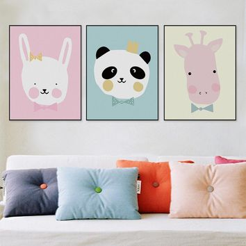 Modern Kawaii Animals Lion Canvas A4 Poster Print Cartoon Nursery Wall Art Picture Kids Baby Room Decor Canvas Painting No Frame