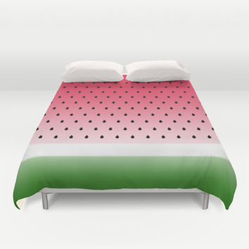 Juicy Watermelon Duvet Cover by Eileen Paulino