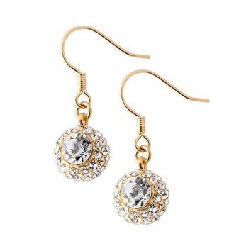Clear Crystals Dangle Fish Hook Shining Balls Earrings in 16K Gold Plated