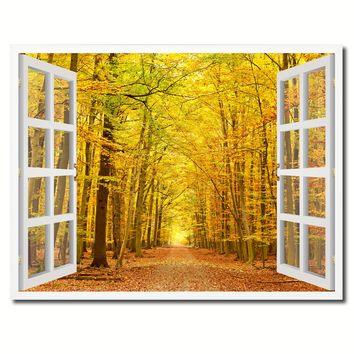 Pathway Autumn Park Yellow Leaves Picture French Window Framed Canvas Print Home Decor Wall Art Collection