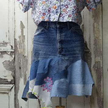 Upcycled Denim, Hippie Jean Skirt, with Floral Appliques, Artsy Jean Skirt, Wearable Art, Upcycled Clothing