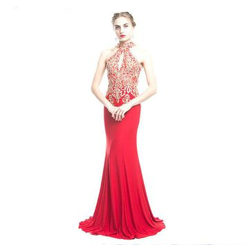 Backless Red Mermaid Lace Evening Dress Long Appliques Evening Gowns