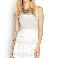 LOVE 21 Embroidered Lace Skirt White