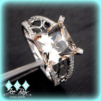 Morganite Engagement Ring 3.4ct Princess Cut Morganite Solitaire in 14k White Gold Filigree Diamond Setting