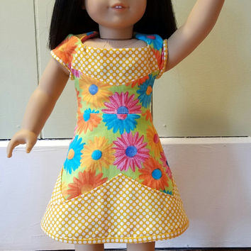 "American Girl Sized 18"" Doll A-Line Dress New Girl Sunshine Daisies Polka Dots OOAK - Ready to Ship"