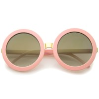 Womens Retro Bold Colored Mirror Oversized Round Sunglasses 56mm