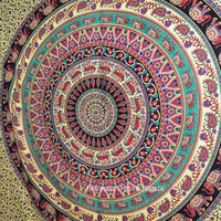Large Bohemian Wall Tapestry, Indian Elephant Mandala Wall Hanging Tapestry Bedspread on RoyalFurnish.com