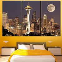 Seattle canvas, Night city canvas, Living Room Wall Art, Seattle print, Wall art, Print on canvas, Multi Panel Wall Decor, town canvas
