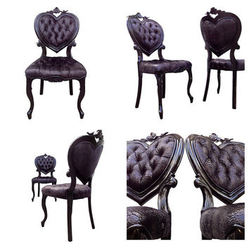 Heart Shaped Back French Victorian Parlor Side Chairs Upholstered Tufted  Painted Black Animal Designer Fabric Modern