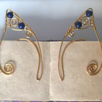 Gold Plated Handmade Wire Wrapped Deep Blue Lapis Lazuli Elf Ear Cuffs, Wire Weave, Spiral, Elven Ears, LARP, Elven Wedding Jewellery