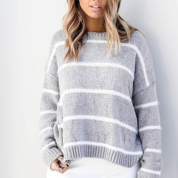 Run Away Striped Gray Chenille Sweater Top