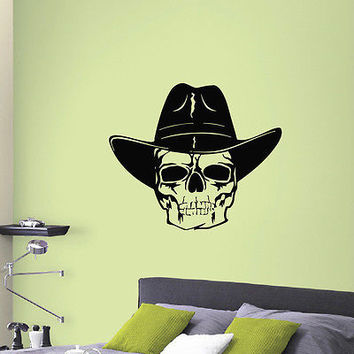 WALL DECAL VINYL STICKER ANIMAL PEOPLE COWBOY SKULL DECOR SB946
