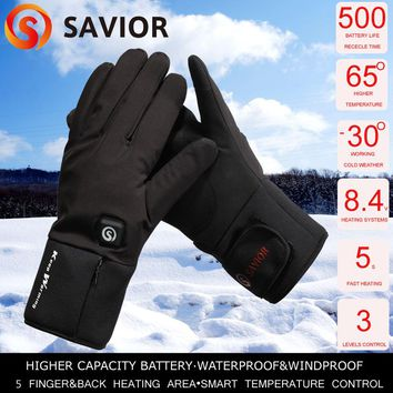 Savior heated glove winter cycling biking riding outdoor sports heating waterproof windproof 40-60c keep warming SHGS20B