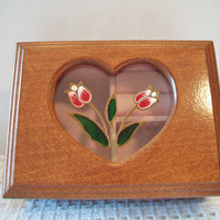 Vintage Wood Cut Out Heart Jewelry Box Pink Tulips Retro Wooden Velvet