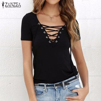 ZANZEA Women Blouses 2017 Summer Sexy V Neck Lace Up Short Sleeve Hollow Out Shirts Casual Blusas Tees Tops Plus Size Blusas