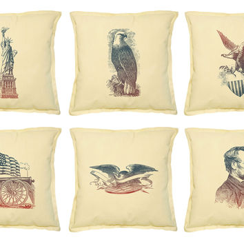 Set Of American Patriotic Emblems Print Decorative PillowCase VPLC_02 Size 18x18