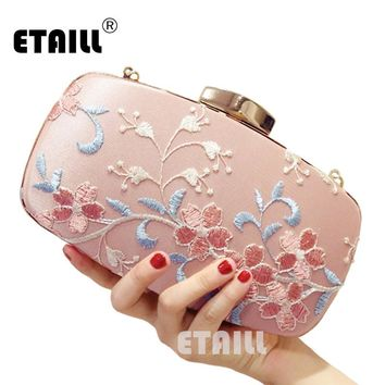 ETAILL Pink Flower Embroidered Evening Bags for Party Wedding Silk Banquet Purse Girls Shoulder Crossbody Bags Chain Clutch bag