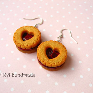 Realistic cookie earrings with cherry jam