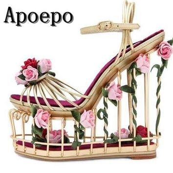 hot selling caged style platform sandal 2017 metal striped ankle strap wedge sandal for woman cutouts heels flower sandal