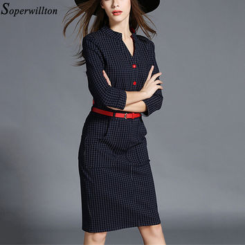 Vestidos New 2016 Autumn Winter Women Dress V-Neck OL Black Blue Package Hip Plaid Boho Dresses Female Polo Party Dresses  D02