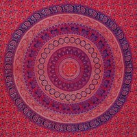 Red Mandala Tapestry, Bedspread, Wall Art, Decorated Throw, Curtain, Table Cover, Picnic Beach Sheet.