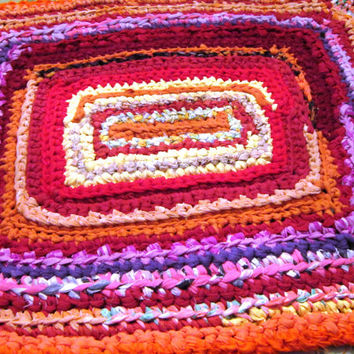 Custom Made Rag Rug 3' x 4' Handmade Crocheted Rag Rug from Upcycled Fabric, Country Casual, Primitive Throw Rug, Scatter Rug
