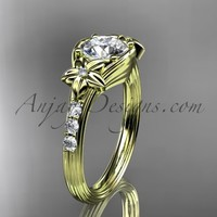 """Unique 14k yellow gold diamond leaf and vine, floral diamond engagement ring with a """"Forever Brilliant"""" Moissanite center stone ADLR333"""