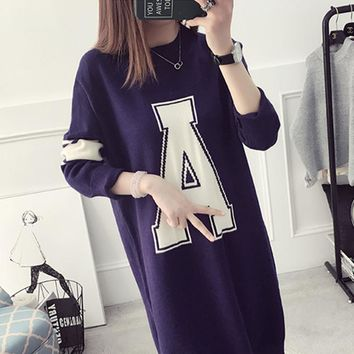 2016 Hot Selling Autumn and Winter New Women's Sweater Loose Letters Printing Wild Long Knitted Sweater AXD1893