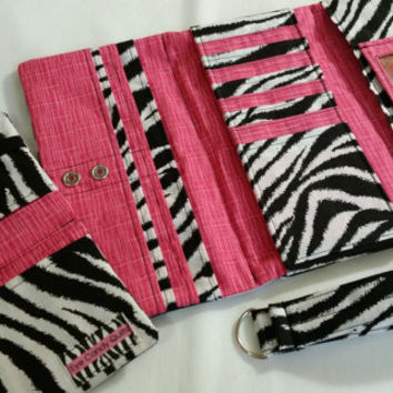 Zebra Print Checkbook, Zebra and Pink Checkbook Cover, Women's Checkbook Wallet, Animal Print Accessories