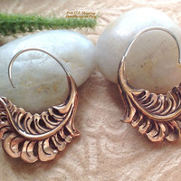 """Tribal Hanging Earrings, """"Grecian Willow"""" Copper, Sterling Posts, Handcrafted"""